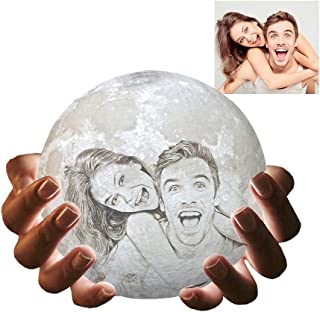 Moon Lamp with Picture 3D Printed Customized Moon Night Light with Stand
