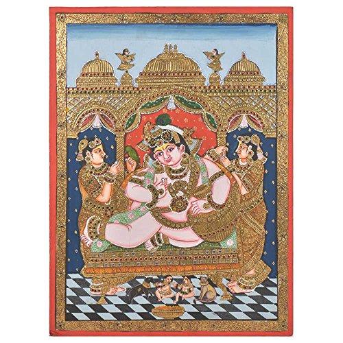 Étagère Indien Fait à la Main Darbar Krishna Peinture de peintures avec Cadre Pt-147