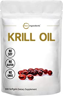 Antarctic Krill Oil Supplement, 1000mg Per Serving, 300 Softgels, Supports Immune System and Brain Health, Rich in Fatty A...
