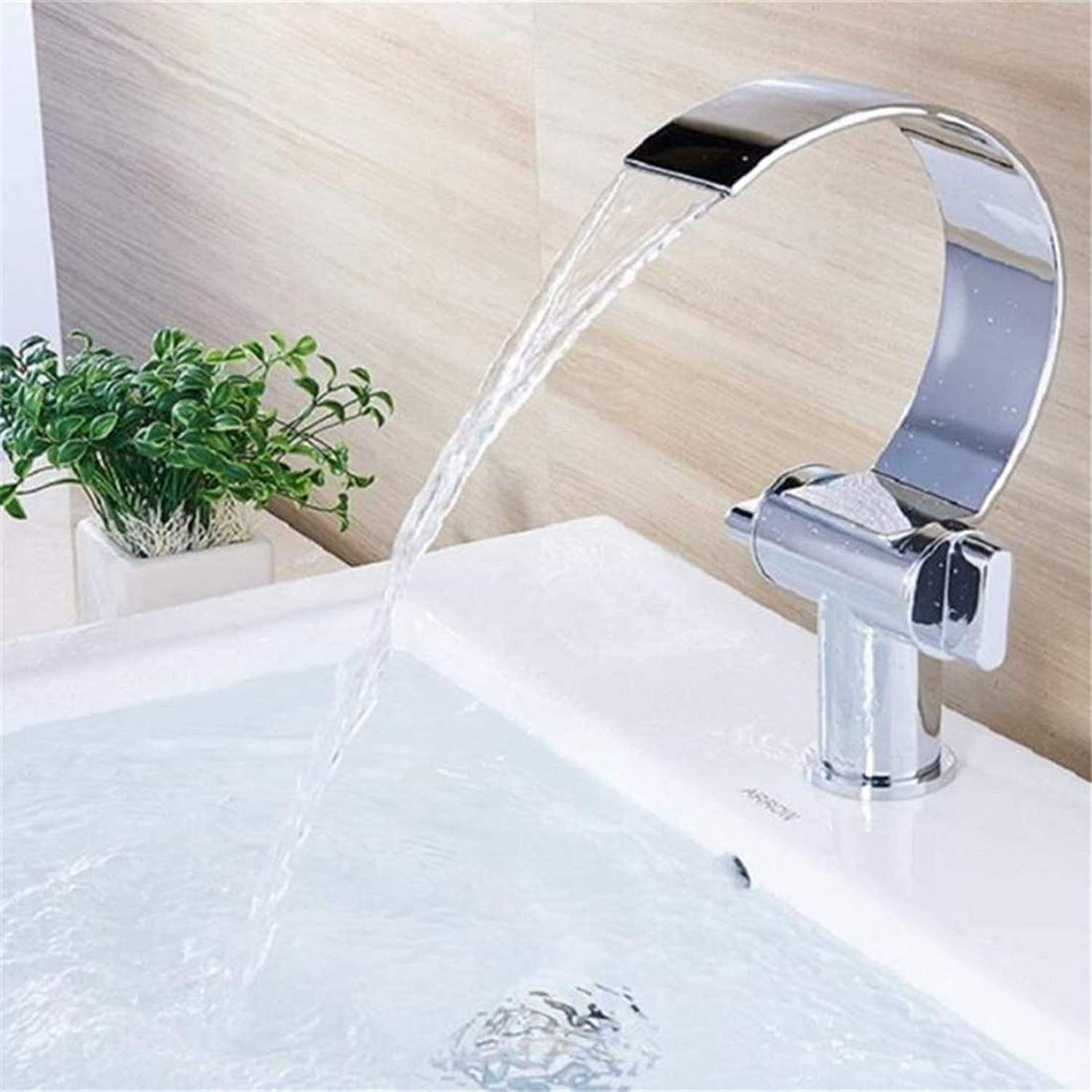 Faucets Basin Mixersink Mixer Double Handle Waterfall Hot and Cold Basin Mixer Curved