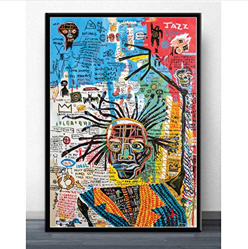 JIUJIUJIU Graffiti-Meister-Jean-Michel Basquiat-Graffiti-Plakat und Drucke Leinwandmalerei Modernes Wandkunstbild für Wohnzimmer-Wohnkultur ohne gerahmte 50 * 70Cm