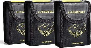 MEGICOT 3 Pcs Fireproof Explosion-Proof Lipo Battery Safe Bag Li-po Battery Guard Safe Pouch Sack Replacement for DJI Mavi...