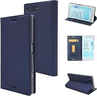 Xperia X Compact ケース, Sony Xperia X Compact ケース, MTRONX 軽量 高品質 超薄型 手帳型 マグネット式 保護 カード収納付 スタンド PU レザー ケースSony Xperia X Compact カバー [ブルーBlue](MA-BU)