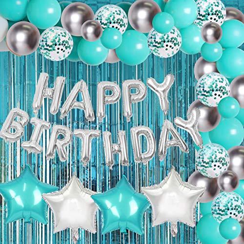 Fangleland Blaugrün Blue Geburtstag Dekorationen Set mit Happy Birthday Luftballons Banner Türkis Blue und Silber Luftballons Vorhang für Blaugrün 30. 40. 50. Geburtstag Baby Shower