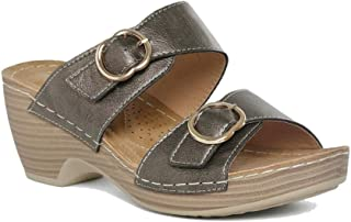 Addons Women's Slip-on Buckle Detailing Wedge. Fashion Sandals