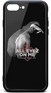 iPhone 7 Plus/iPhone 8 Plus Case Tupac-Shakur-All-Eyez-on-Me-8- Shockproof Tempered Glass Back Cover Soft TPU Bumper Shell for iPhone 7 Plus/iPhone 8 Plus