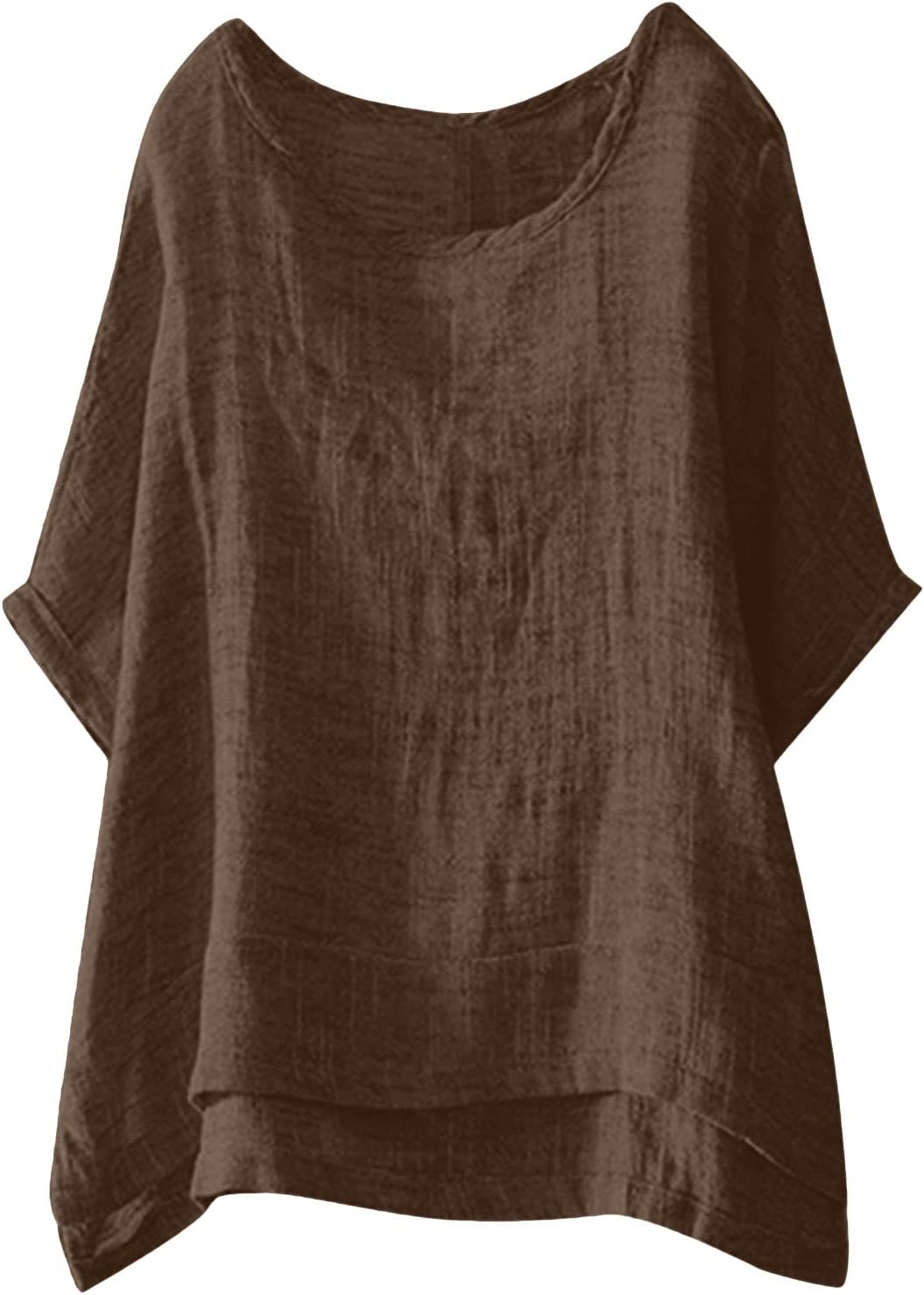 Round Neck Five-Point Sleeve T-Shirt, Solid Color top, Women's Large Size top, Women O-Neck Solid Three Quarter Sleeve Cotton