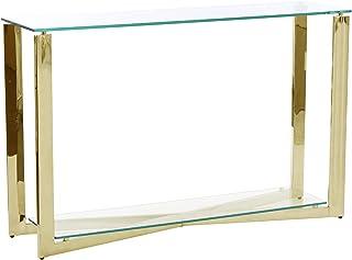 PEÑA VARGAS - Recibidores Modernos - Consola Cristal/Acero Dorado (120x30x76)