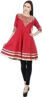 Devaleena Creations Red Khaadi Brocade Yoke- Sleeve Hemming Silver Border- Short Anarkali- For Girls