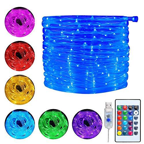 Ollny Lichterschlauch 10M 100 LED USB Lichterkette 16 Farben 4 Modi mit Fernbedienung & Timer für Weihnachten Party Dekoration Geburstag Hochzeit Wohnzimmer Kinderzimmer