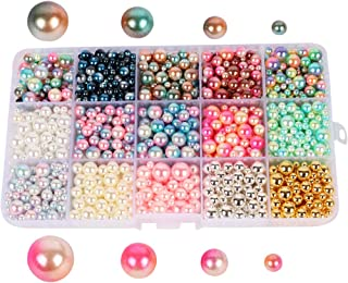 Beads 1140pcs/lot Mix Rainbow Color Round 4/6/8/10mm Imitation Pearl No Holes (Style 1)