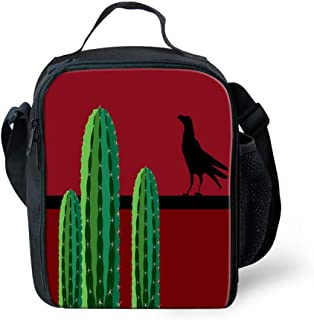 Lunch Box Insulated Lunch Bag Tough & Spacious Lunchbox, Saguaro Cactus Succulent Plants and a Bird Perched on a Wire Wild West Theme,Lunch Bags for Men,Adults,Kids,Women