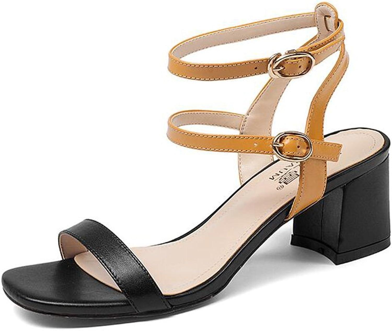 CJC Sandals High Heeled Fashion Women Ladies Open Toe Peep Toe Chunky Leather (color   A, Size   EU36 UK3.5)
