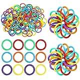 144 Anillos de Hojas de Sueltas de Plástico Anillos de Encuadernación Multicolor Anillos Flexible de Libro de Plástico para Tarjetas, Pila de Documentos y Organización de Muestras, 6 Colores (20 mm)