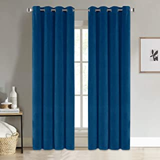 NICETOWN Living Room Velvet Curtains - Soundproof Velvet Woven Home Theater Grommet Top Drapes for Living Room (1 Pair, W52xL96 inches, Royal Blue)