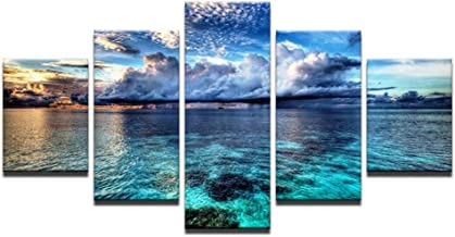 MMLZLZ 5 canvas paintings Modern canvas wall pictures with HD print 5 pieces of sunset that blue ocean sky for theliving room landscape poster painting