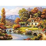 YYGM Peinture par numéro Kit DIY Peinture par Chiffres pour Adultes Enfants Cabine Riverside Cadeaux pour Parents et Amis