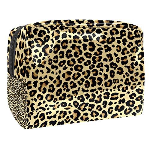 Bolsa de maquillaje portátil con cremallera bolsa de aseo de viaje para las mujeres práctico almacenamiento cosmético bolsa patrón leopardo