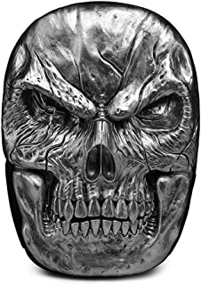 Men PU Leather Backpacks,Fashion Retro 3D Stereo Pirate Skull Rivets Punk Rock School Bags Travel Bookbag,Silver
