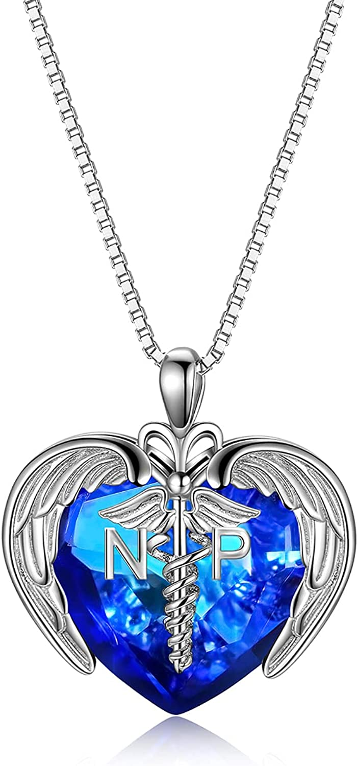 Large special price AOBOCO Sterling Silver Registered Max 82% OFF Nurse Neck Pendant RN Caduceus