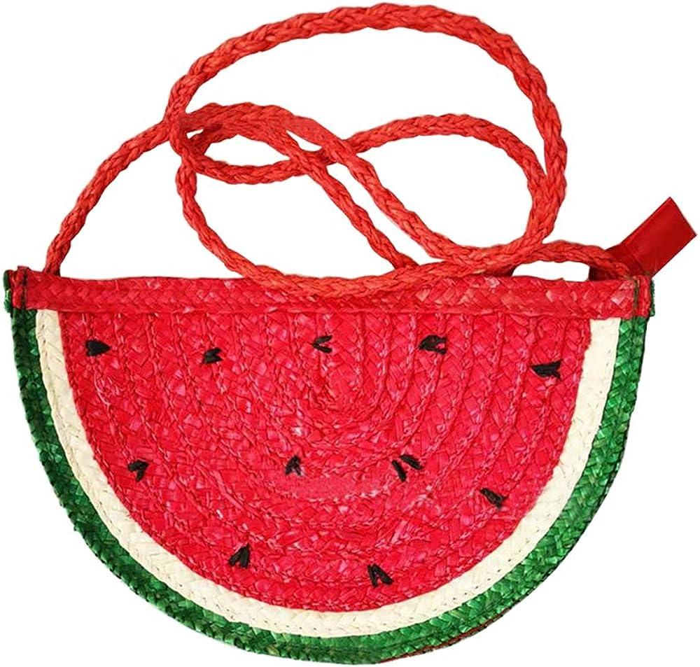 QTKJ Semi-circle Rattan Straw Shoulder Bags, Hand-woven Summer Watermelon Beach Straw Crossbody Bag Messenger Bag Purse for Women Girl (Red)