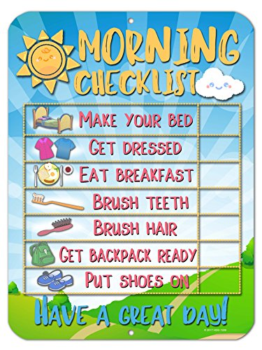 Honey Dew Gifts Daily Morning Routine Reward Chart for Kids and Autism - Tin Learning Calendar for Kids, Teaching Tool