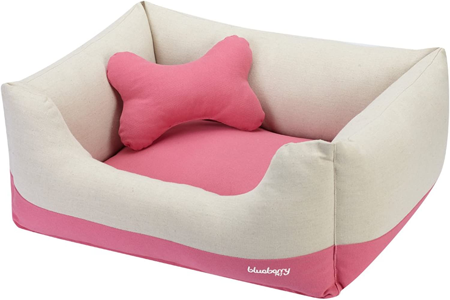 blueeberry Pet Heavy Duty Cotton Linen Blended Canvas Overstuffed Cuddler Bolster Lounge Dog Bed, Removable & Washable Cover w YKK Zippers, 25  x 21  x 10 , 6 lbs, Baby Pink & Beige colorBlock