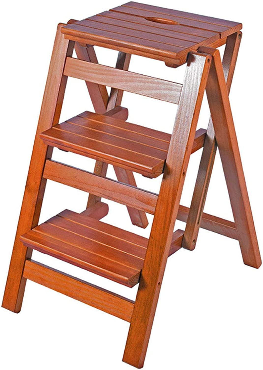 Folding 3 Pedal Stool Ladder Chair Solid Wood Portable Home Safety Stair Stool Wooden Shelf Max Load 150KG (color Light Walnut)