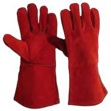 Leather Welding Lined Gloves, 35cm (Red), Pack of 1