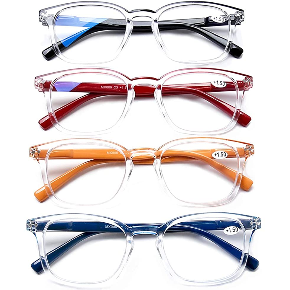 AQWANO 4 Pack Blue Light Blocking Computer Reading Glasses Spring Hinge Readers Fashion Design Big Frames Readers for Men Women +1.0