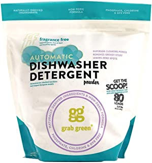 Grab Green Natural Automatic Dishwashing Detergent, Fragrance Free 80 Loads Organic Enzyme-Powered - Includes Reusable Tote