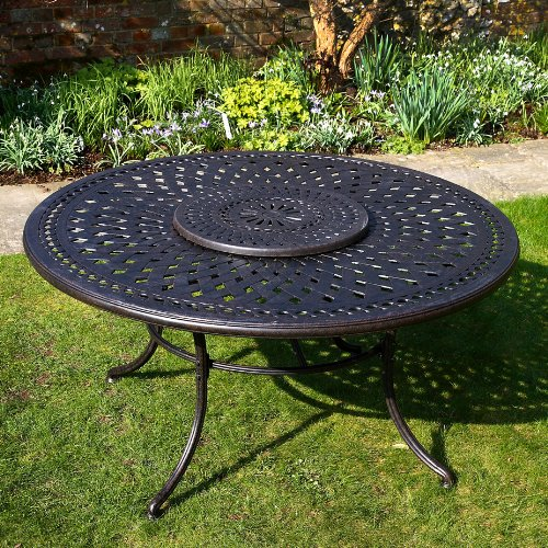 Lazy Susan Frances 150cm Rundes Gartenmöbelset Aluminium - 1 FRANCES Tisch + 6 ROSE Stühle