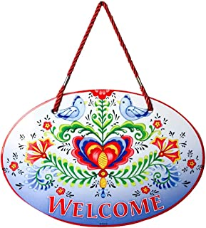 Essence of Europe Gifts E.H.G Welcome Friends with Attractive Lovebirds & Rosemaling Motif Welcome 11x8 Ceramic Welcome Do...