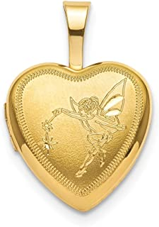 ICE CARATS 925 Sterling Silver Gold Plated 12mm Fairy Heart Photo Pendant Charm Locket Chain Necklace That Holds Pictures Fine Jewelry Gifts for Women for Her