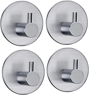 FOTYRIG Adhesive Hooks Wall Hangers Waterproof Stainless Steel Heavy Duty Hooks for Hanging Kitchen Bathroom Home Stick on Wall (Round Base)-4 Packs