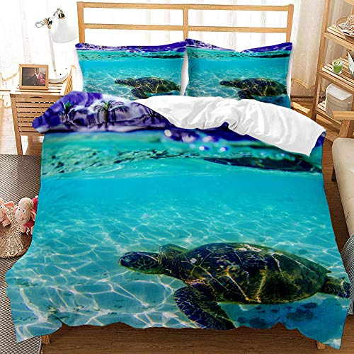 Bedclothes-Blanket Juego de sabanas Cama 150,Conjunto de Tres Conjuntos de Ropa de Cama Digital 3D de lecho bajo el Agua Whale Whale Shark-3_200 * 200 cm