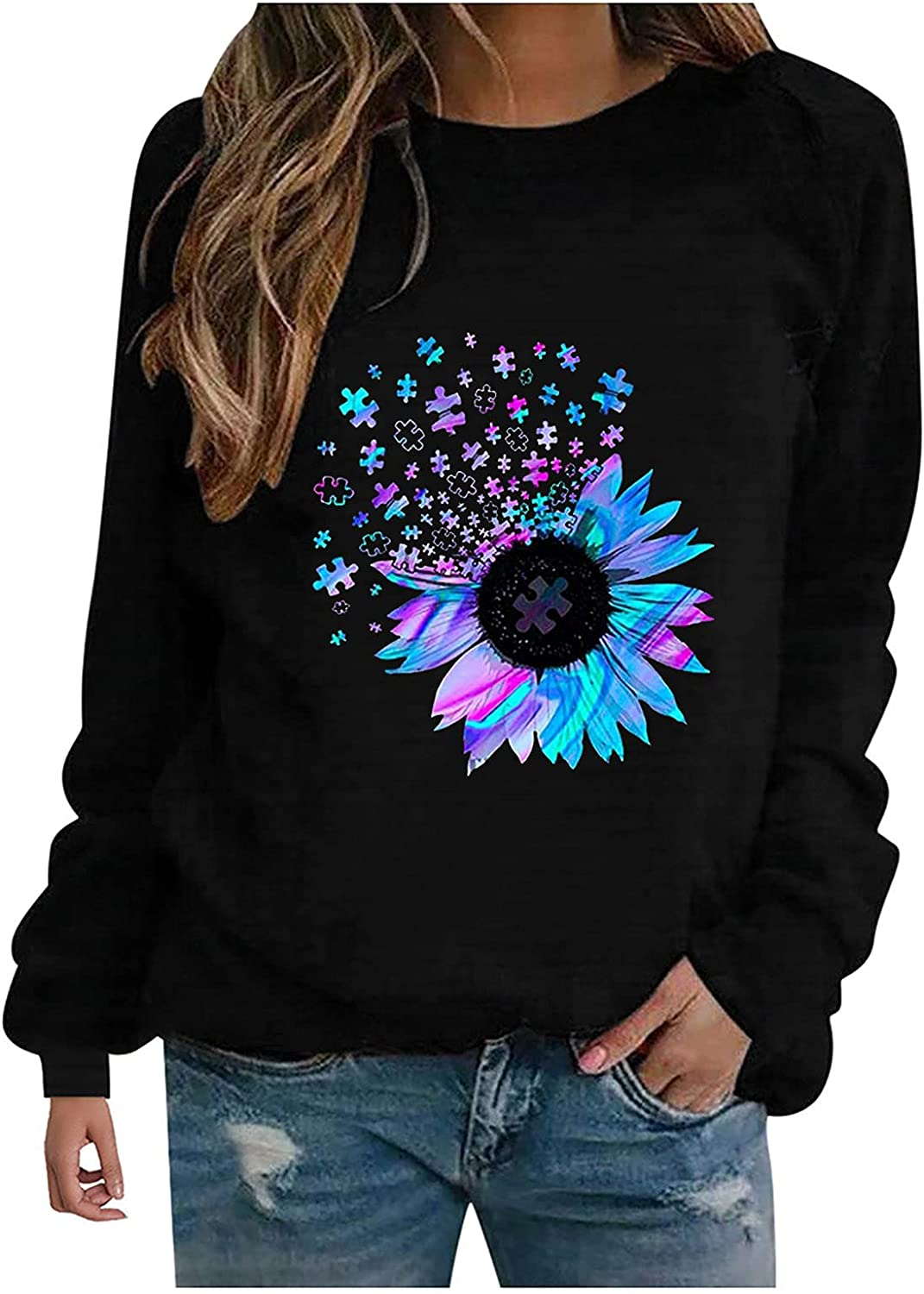 Women Plus Size Fall Sweatshirts,Chic Sunflower Graphic Casual Vintage Y2K Long Sleeve Crewneck Blouse Tshirts Pullover