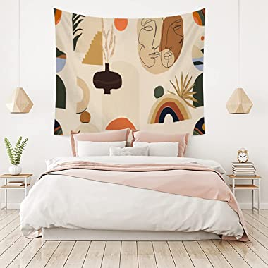 Boho Abstract Art Wall Tapestry Room Decor For Bedroom Plant Image Aesthetic Hippie Bohemian Living Room Wall Hanging(BMW2,15