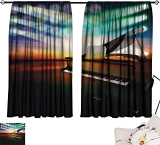 Denruny Navy Blue Curtains Musical Theatre,Grand Piano Stage 84