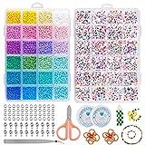 Onlyesh 13200 Pcs Cuentas de Colores, 3mm 24 Colores Bolitas para Hacer Pulseras con Cuentas de Letras, para Pulseras, Collares, Llaveros de Bricolaje