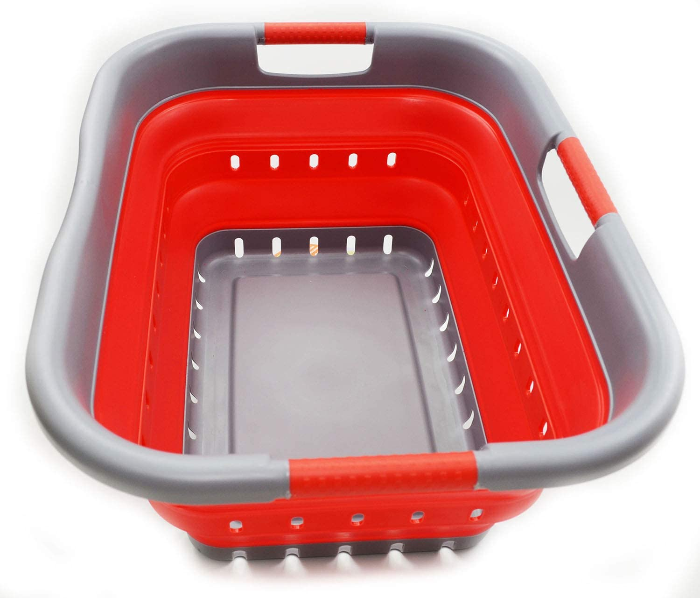 SAMMART [正規販売店] Collapsible 3 Handled Plastic Laundry - 最新号掲載アイテム Foldable Basket