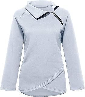 Fitfulvan Womens Stand Collar Diagonal Zipper Pullover Irregular Hem Solid Color Casual Tops