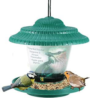 Evealyn Bird Feeders Tray Outdoor/Outside Waterproof Hanging,Large-Capacity Panoramic Feeding Automatic Wild Bird Feeder with Roof,Easy to Clean and Easy to Fill The Garden,Balcony,Windowsill (Green)