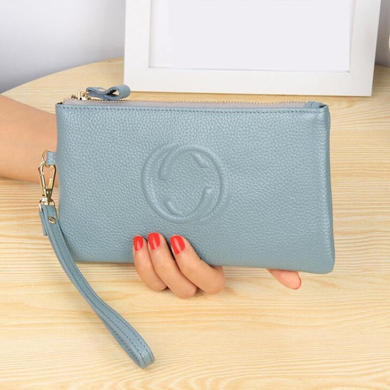 Wallets Female long zipper thin Genuine leather wallet hand purse female Leisure wallet ( color   Light bluee )
