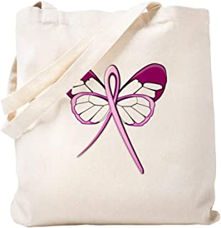 CafePress Breast Cancer Butterfly Natural Canvas Tote Bag, Cloth Shopping Bag