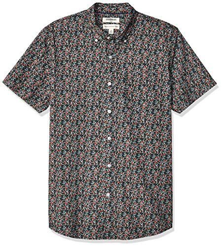 Amazon Brand - Goodthreads Men's Standard-Fit Short-Sleeve Printed Poplin Shirt, Pink Mini Floral Large