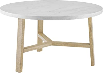 Walker Edison Furniture AZF30EMCTLO Mid Century Modern Round Coffee Accent Table Living Room, 30 Inch, White Marble, Light Brown