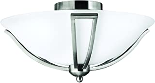 Hinkley 4660BN Transitional Two Light Flush Mount from Bolla collection in Pwt, Nckl, B/S, Slvr.finish,