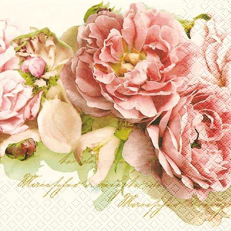20 Servietten Mary Roses – Edle Rosen/Blumen 33x33cm