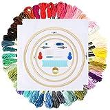 Kit de inicio de bordado de hilo de bordado 50 hilos de colores Kit de hilo de coser de punto de cruz de color arco iris, algodón puro